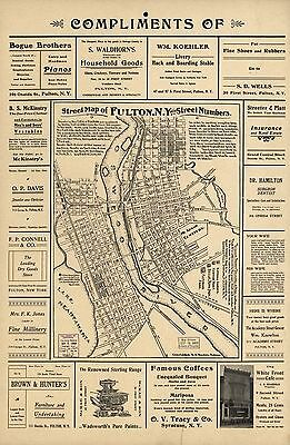 12x18 inch Reprint of American Cities Towns States Map Fulton Ny