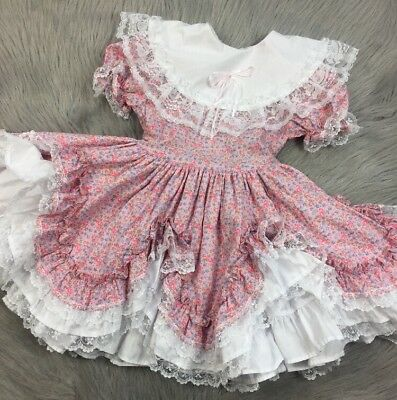 Vintge Toddler Girls Pink White Floral Lace Ruffle Frilly Easter Dress