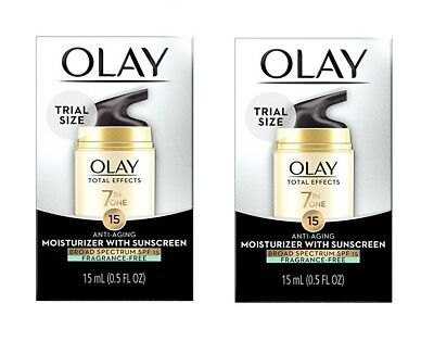 2 OLAY Total Effects 7 In 1 Anti-Aging Daily Moisturizer .5 oz EACH TRIAL SIZE