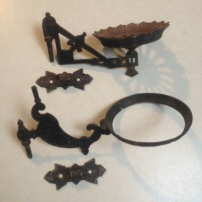 Antique Victorian Cast Iron Wall Mount Oil Lamp Holders Sconces, Lot of 2