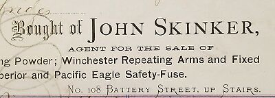 1875 Invoice~John Skinker-Winchester Repeating Arms & Mining ~ San Francisco, CA