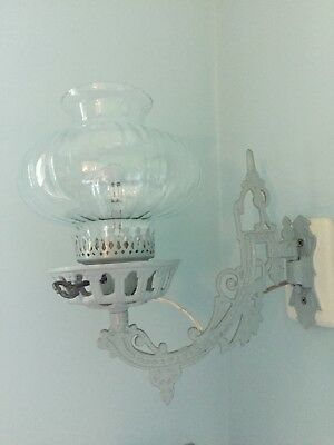 Antique Electrified Wall Lamp Cast Iron Victorian Swing Arm W/glass Shade