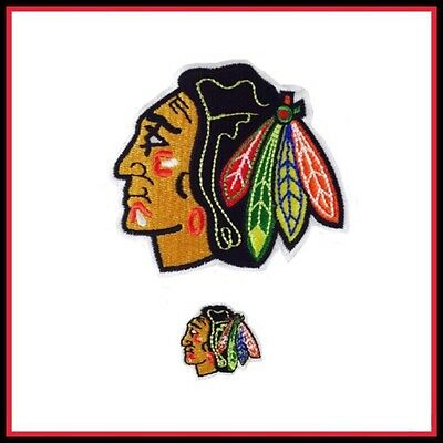 Lot of (2) Chicago Blackhawks Vintage Embroidered Iron On Patch (NOS)