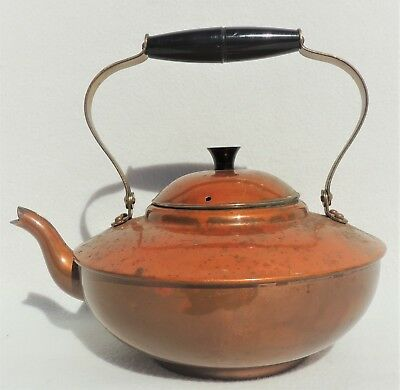 Vtg/Antique B&M Portugal Douro Copper & Brass Teapot w/ Handle & Lid 3796