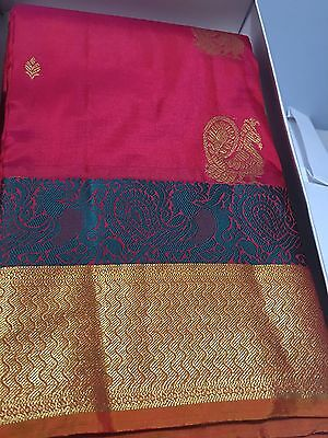 100% Pure kanchipuram Silk Pattu Saree New In Box Tags Red Gold With Blouse NWT