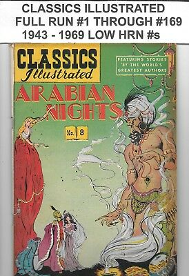 Classics Illustrated Full Lot Run #1 thru 169 Low HRN's 1943 - 1969 Avg 4.5 VG+