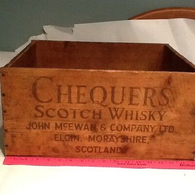 Vintage Chequers Scotch whisky crate wood box Scotland  whiskey Elgin morayshire