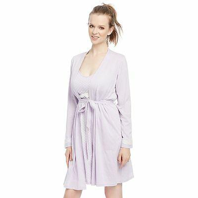 NWT Baby! Motherhood Nursing, Maternity Lilac Gown & Robe Set M, L and XL