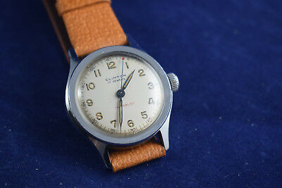 Clinton 17 jewel incabloc wind up watch with English pigskin band