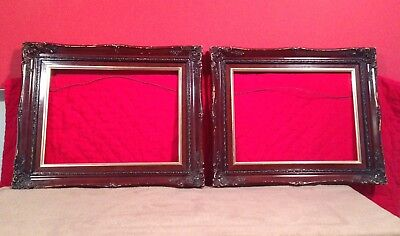 "Pair Of Vintage Brown Frames 16"" x 12"" - Antique Frames - MUST GO"