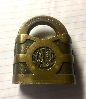 "Antique Brass Padlock Yale Towne 2"" Antique Brass Patina Vintage Lock no keys"