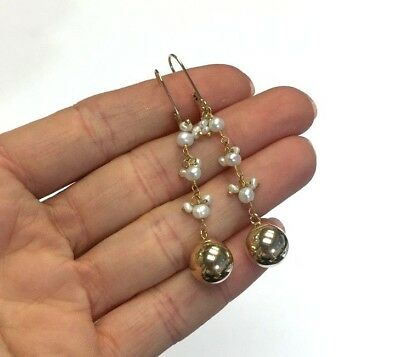 14K Yellow Gold Cascading Seed Pearl and Dangling Ball Drop Earrings