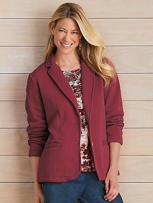NEW Tudor Court Burgundy Red Polished & Playful Fleece Jacket Size XL 2 Pocket
