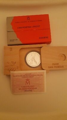 Lot of 16 Official Barcelona '92 2000 pesetas Silver Proof Olympic Coins COA