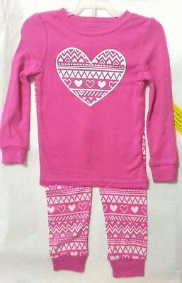 Toddler Girls 2 piece pc Pajama set with HEARTS NWT size 3T  Pink, white