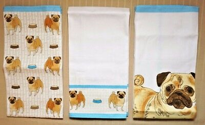 Set of 3 Debonair Pug Kitchen Hand Dish Towels or Tea Towels 100% Cotton - Pugs!