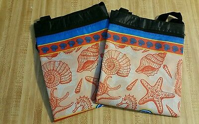 2 reusable tote, shopping, craft, beach bags seashells
