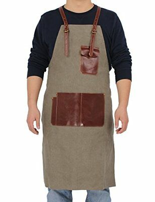 Galsang Waxed Canvas Work Apron Tool Chef Bib Apron With Pockets #767 army green