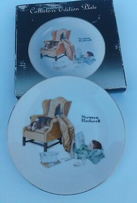 """Norman Rockwell Collectible Edition Plate """"The Student"""" Limited w/wall hook Box"""
