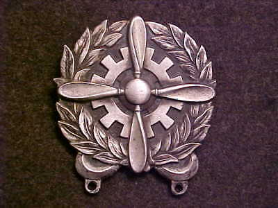 Big Sterling Silver Ww2 Us Army Air Corps Technician Badge