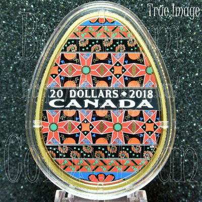 2018–Traditional Ukrainian Pysanka–Golden Spring–$20 Pure Silver Egg Shaped Coin