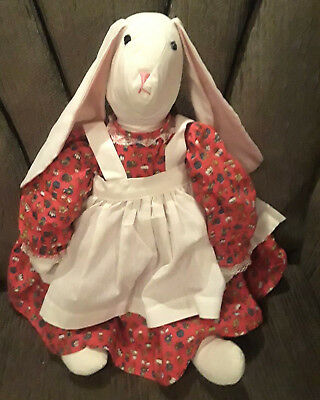 """20"""" WHITE FACE FLOP EAR RABBIT DOLL Red Print Dress & Lacy Apron & Pataloons"""