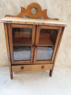 Antique Dollhouse Dolls Wooden China Cabinet With Double Glass Doors