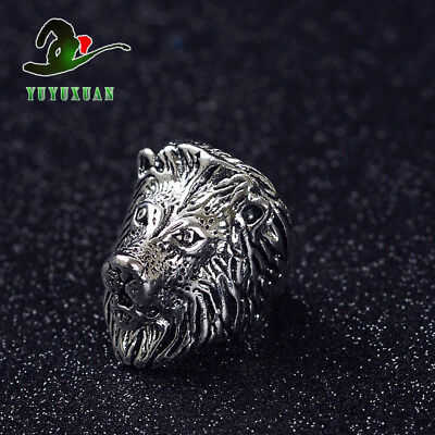 Tibet Silver Ring Carved Leopard Head  J2154