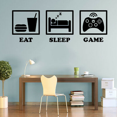 Eat Sleep Game XBOX Controller Gaming Decals Wall Art Stickers Home Decorations