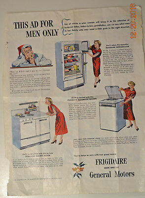 Vintage 1948 ephemera General Motors advertising for Frigidaire Refrigerator