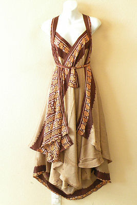 "L729 Vintage Silk Magic 34"" Women Wrap Skirt Halter Kariza Tube Maxi Long Dress"