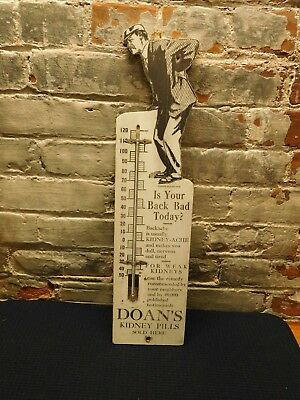 Vintage Doan's Kidney Pills ~ Advertising Wood Thermometer ~ Free Shipping
