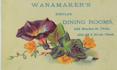 Victorian Trade Card Wanamaker's Dining Rooms Morning Glory P77
