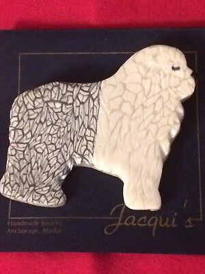 NEW Handmade One Of A Kind Old English Sheepdog Pin Brooch By Jacqui '96