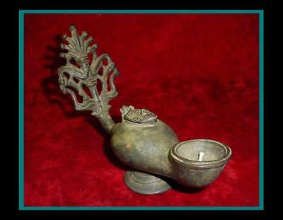UNIQUE ANTIQUE BRONZE ROMAN / GREEK OIL LAMP w/Ornamental Handle w/Pedestal Base