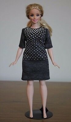 Clothes for Curvy Barbie Doll. Gray dress decorated with rhinestones for Dolls.