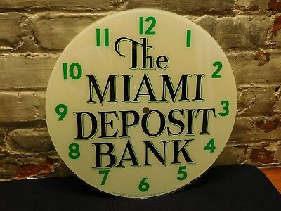Vintage Pam Glass Clock Face ~The Miami Deposit Bank ~Advertising~ Free Shipping