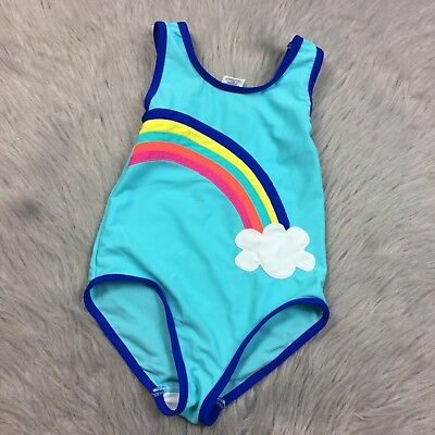 Mini Boden Toddler Girls Blue Rainbow One Piece Swimsuit Sz 2-3y