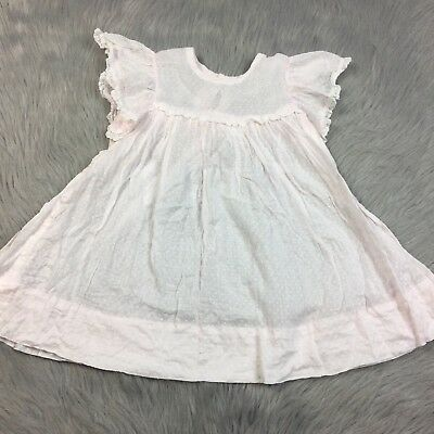 Vintage Baby Toddler Girls Pink Swiss Dot Flutter Sleeve Sheer Dress *Flawed