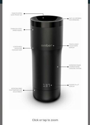 Ember Temperature Control Mug Black Tumbler Thermos Smart cup Starbucks new seal