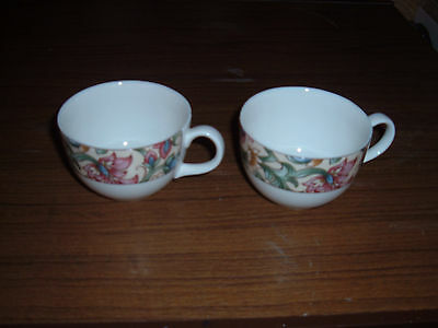 Lot of 2 Royal Doulton Everyday Jacobean pattern coffee or tea cups