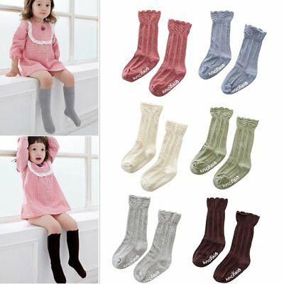 Toddler Baby Girls Knee High Long Socks Warm Cotton Casual Stockings 0-4 Years