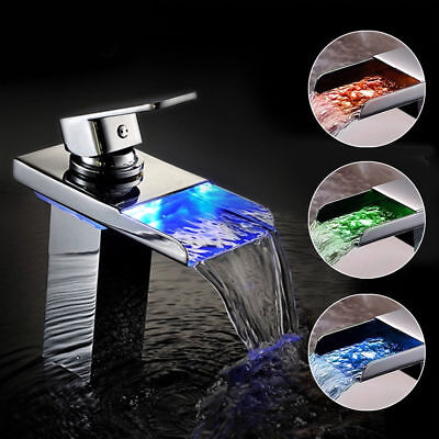 Chrome Led Mixer Tap Modern Waterfall Square Bathroom Shower Basin Faucet New