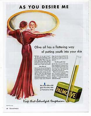 "PALMOLIVE SOAP AD Repro 1930's Advertisement Art for Framing 7.75"" x 10"""