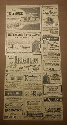 1949 Atlantic City, New Jersey Hotel conjoined ad Traymore Colton Manor Brighton