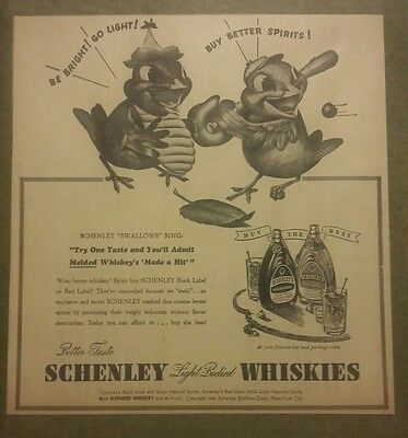 1940 Schenley Light Bodied Whiskies Ad Baseball Black & Red Label