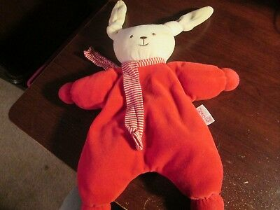 Corolle knotted ear bunny lovey with rattle red VHTF