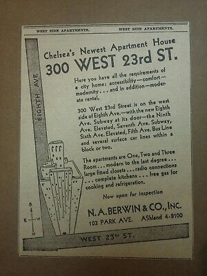 1931 Chelsea's Newest Apartment House Ad New York