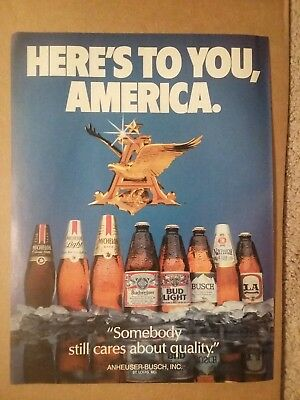 1985 Here's To You America Budweiser Beer Ad Michelob Busch LA