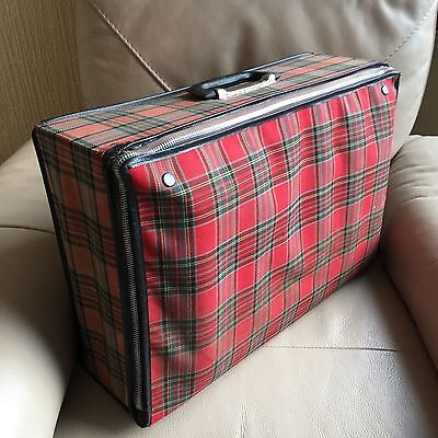 Vintage retro 1970s red tartan checked metal zipped bag PVC lined weekend case